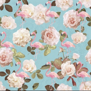 Linen fabric - Flamingos and Roses Blue