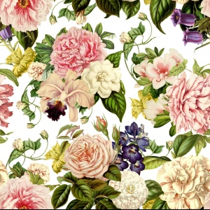 Linen Fabric - Juliette Flowers Clear